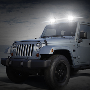 A jeep with our LED pod lights (off road lights) on