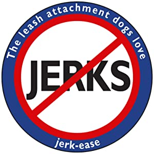Jerk-Ease logo, leash attachment dogs love, no jerks allowed symbol