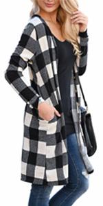 LACOZY Women's Open Front Long Knit Cardigan Draped Snap Buffalo Plaid Shirt Kimono Cardigan Sweater