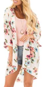 LACOZY Women's Floral Print Kimono Cover Up Sheer Chiffon Blouse Long Cardigan