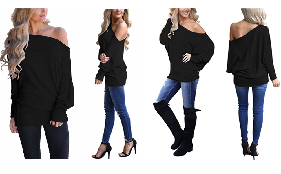 LACOZY Women's Off The Shoulder Tops Oversized Long Sleeve Tunic Blouses T Shirt