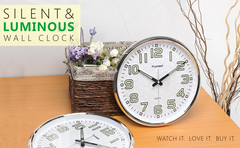 Amazoncom Night Light Function Plumeet 13Inch Wall Clock with