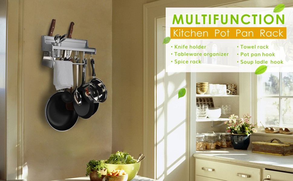 Amazoncom Kitchen Wall Pot Pan Rack Plumeet In Wall Mounted - Pot and pan hanger for kitchen