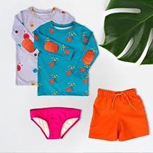 UPF 50 swim shirt sets boys girls long sleeve sun protection rash guards bikini bottoms swim trunks