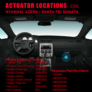 Blend Door Actuator for Chrysler 300 Town and Country Dodge Challenger  Charger Grand Caravan Ram C/V Dakota replaces # 68033337AA 68031977AA