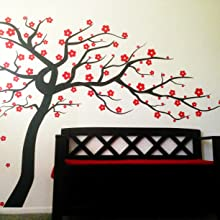 Amazon Com Fymural Plum Blossom Tree Wall Sticker Vinyl Removable For Livingroom Kid Baby Nursery Home Mural Paper Diy Decals 102 4x66 9 Black Red Kitchen Dining