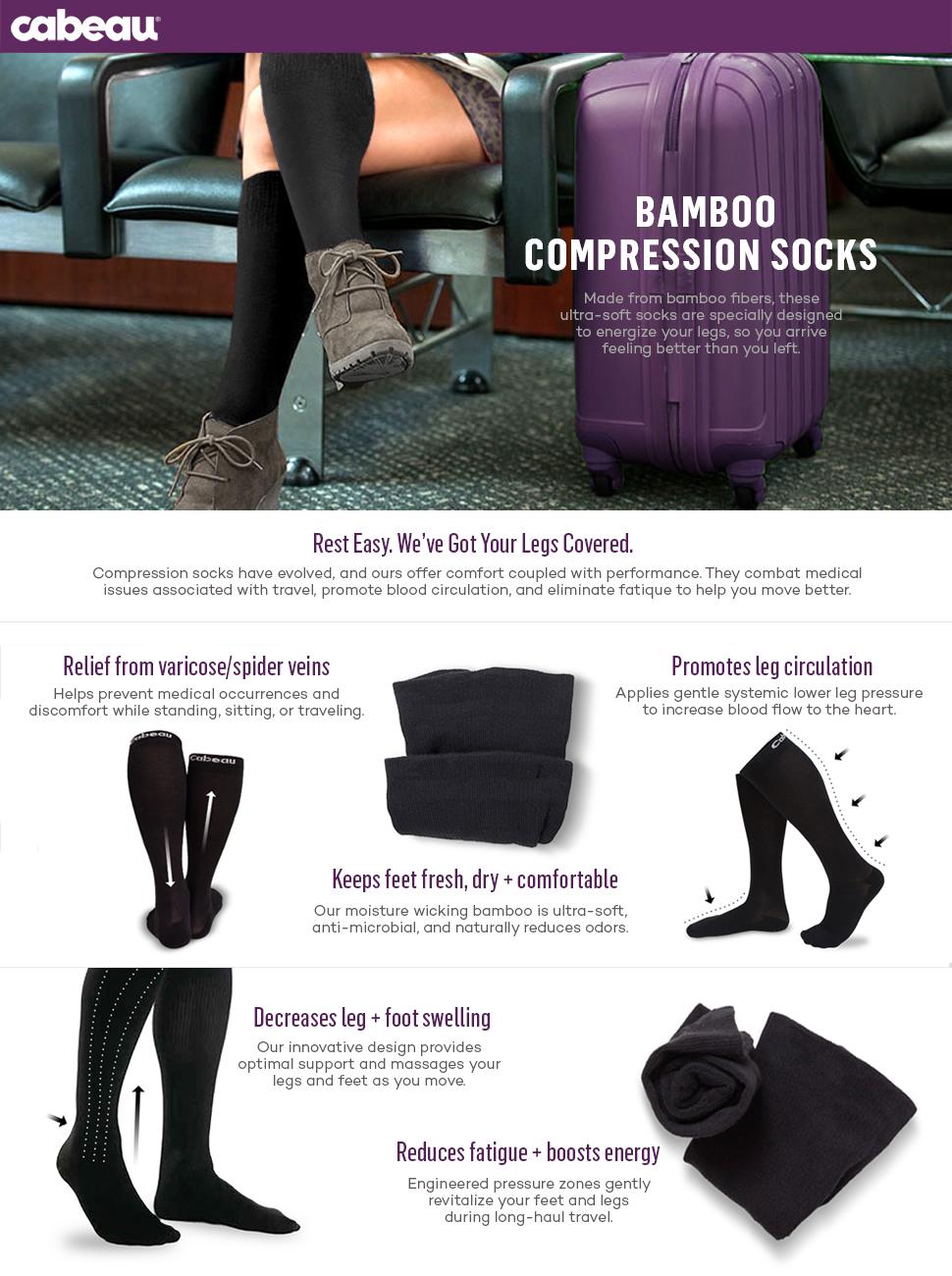 Amazon.com  Cabeau Bamboo Compression Socks - Reduce Swelling ... 184d3e6a2