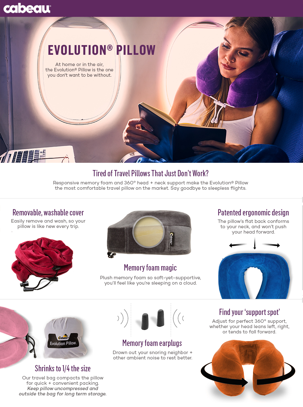 Amazon Com Cabeau Evolution Memory Foam Travel Pillow The Best Neck Pillow With 360 Head
