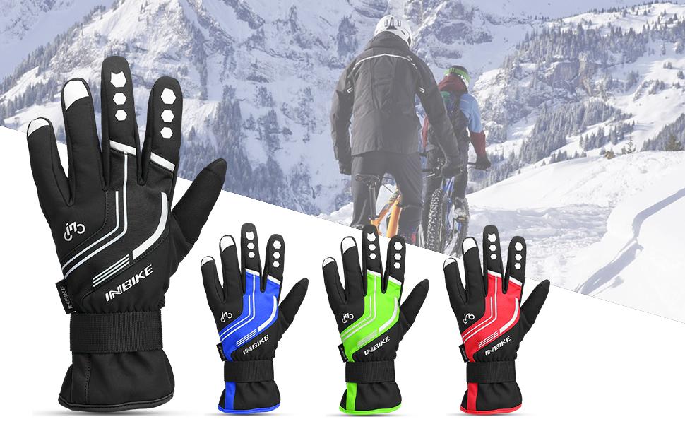 Inbike MTB Road Bike Winter Waterproof Fleece Warm GLOVES Cycling Full Finger