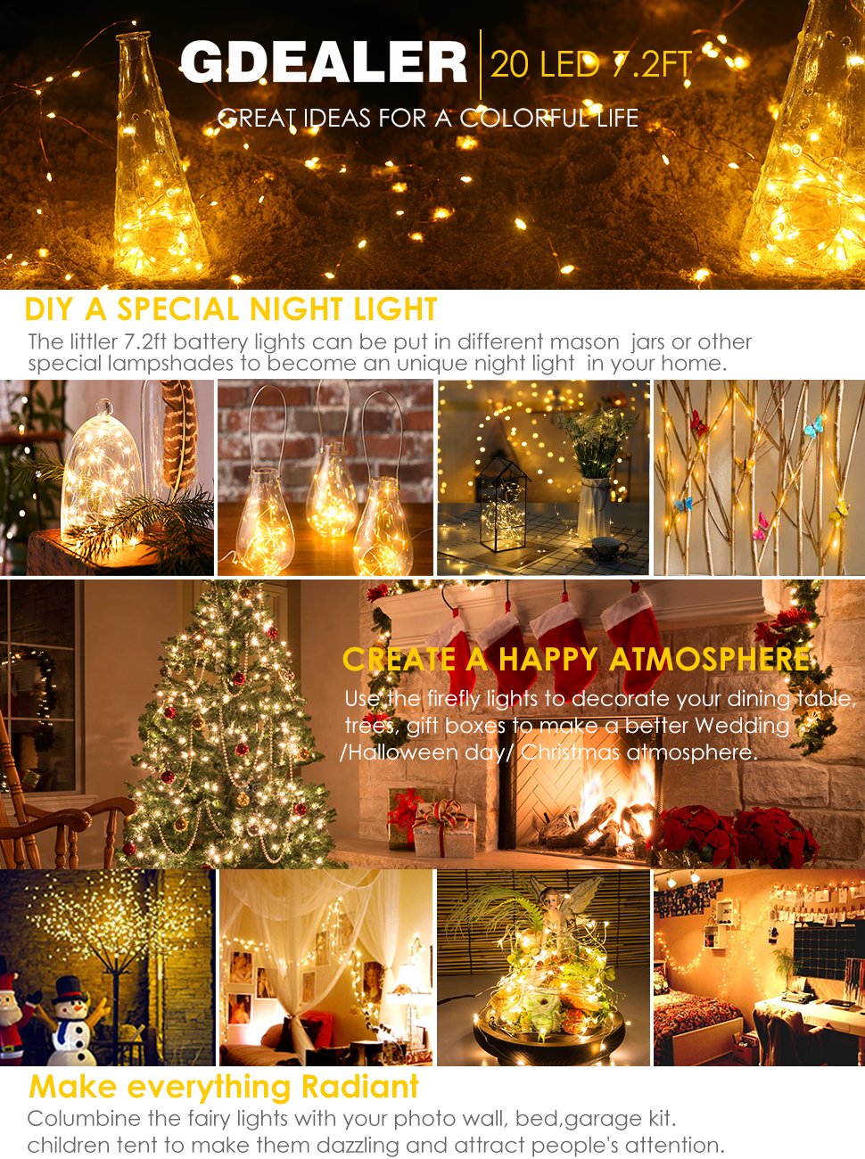 decorate your life and home with the 6 pack 7ft 20 led gdealer fairy string lights - Battery Pack To Plug In Christmas Lights