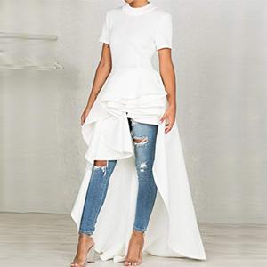 63907cca7d Misassy Womens Runway High Low Peplum Top Maxi Dress Short Sleeve ...