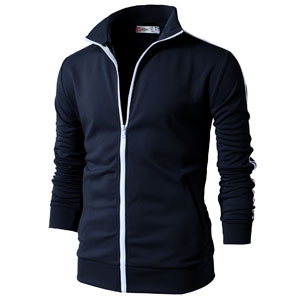 Designed Fit Track Zip Mens Basic Slim Long H2h Active Sleeve Training Up Jacket 435jLRA