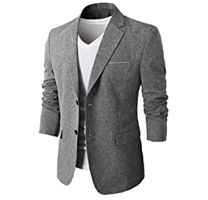 H2H Mens Slim Fit Suits Casual One Button Flap Pockets Solid Linen ...