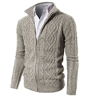 H2H Mens Casual Knitted Cardigan Zip-up with Twisted Pattern at ...