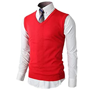 H2H Mens Casual Slim Fit Solid Texture Lightweight V-neck Sweater ...