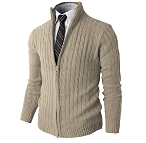 H2H Mens Slim Fit Full-zip Kintted Cardigan Sweaters with Twist ...