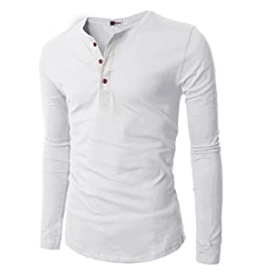 H2H Mens Casual Slim Fit Basic Henley Long Sleeve T-Shirt at ...