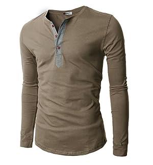 H2H Mens Casual Slim Fit Basic Henley Long Sleeve T-Shirt at ...