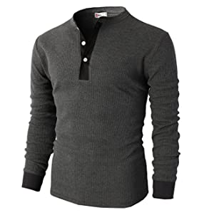 H2H Mens Casual Slim Fit Long Sleeve Henley T Shirts Of Waffle ...
