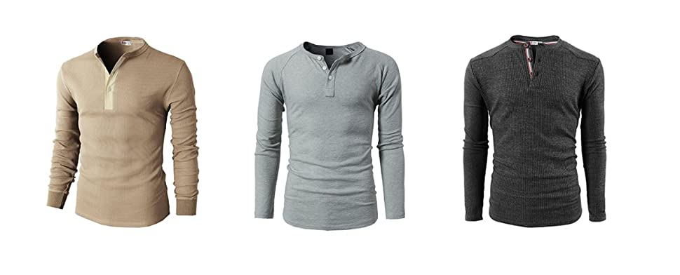 H2H Mens Casual Henley Slim Fit Long Sleeve T Shirts Of Waffle ...