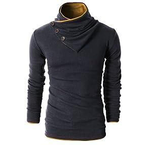 H2H Mens Fashion Turtleneck Slim Fit Pullover Sweater Oblique Line ...