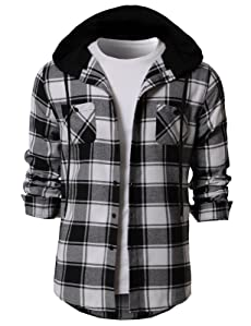 d3bbe7d8838b1 DESIGN   Soft Cotton Fabric contrast Button down whirts with drawstring  Detachable hood. two pockets on chest.