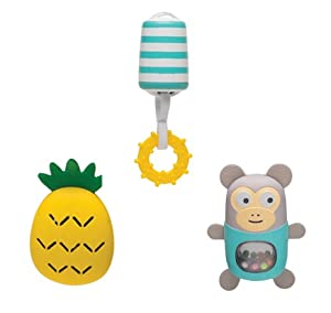 Archs toys feature variety of instrumental sounds – maracas monkey, chime bells toy with a teether and a cymbal pineapple toy. Baby is rewarded by sounds ...