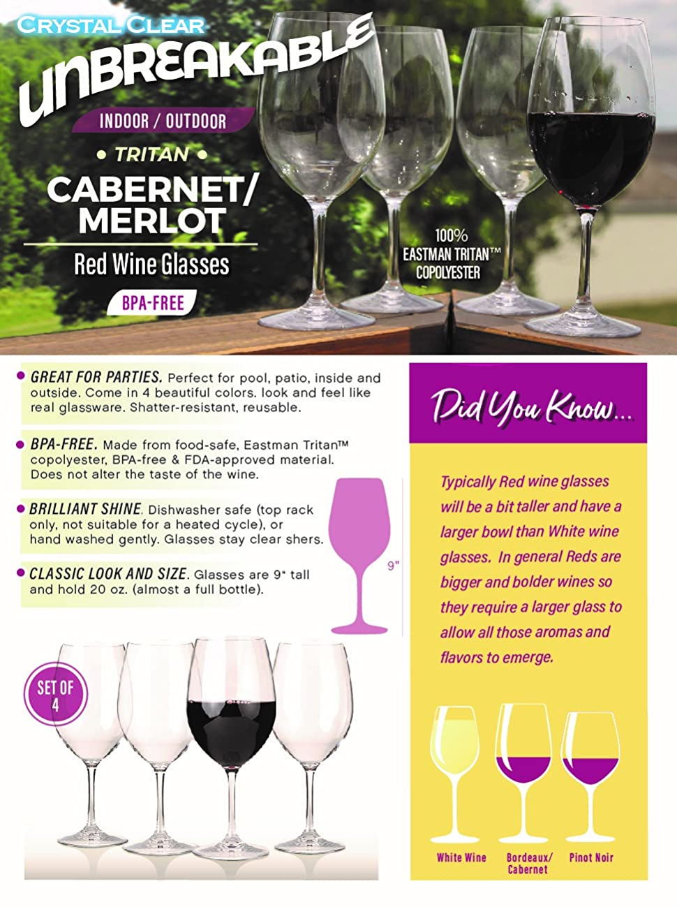 Our Shatterproof Cabernet / Merlot Glasses Are Unbreakable, Reusable And  Dishwasher Safe. The Glasses Allow You To Have The Look And Feel Of Real  Glassware ...