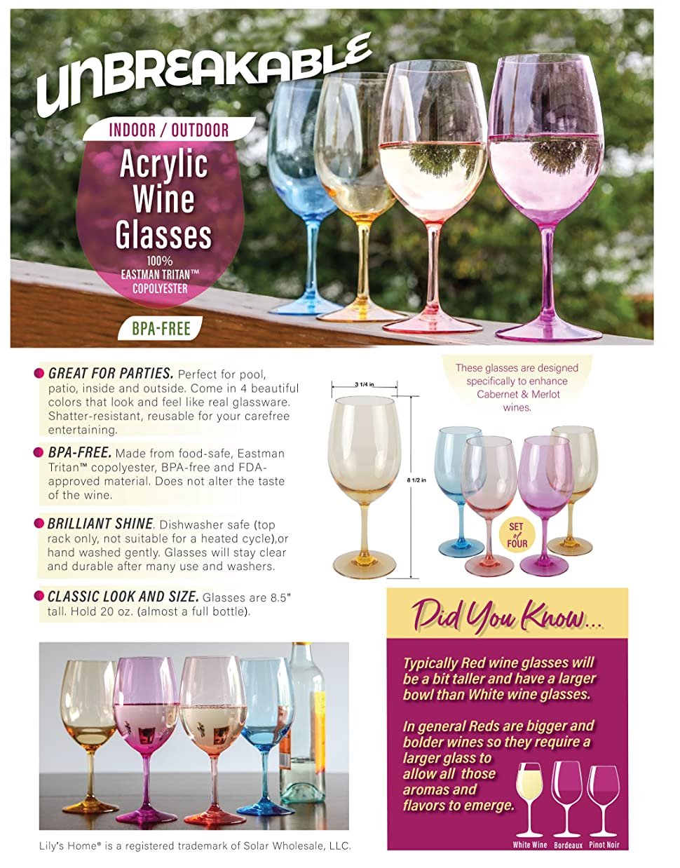 Lilyu0027s Home Unbreakable Indoor / Outdoor Acrylic Wine Glasses, 100% Tritan  Plastic Shatterproof And Reusable. BPA Free. Mixed Color. Set Of 4