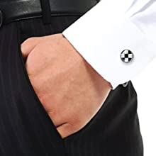 man wearing a checkerboard cufflink