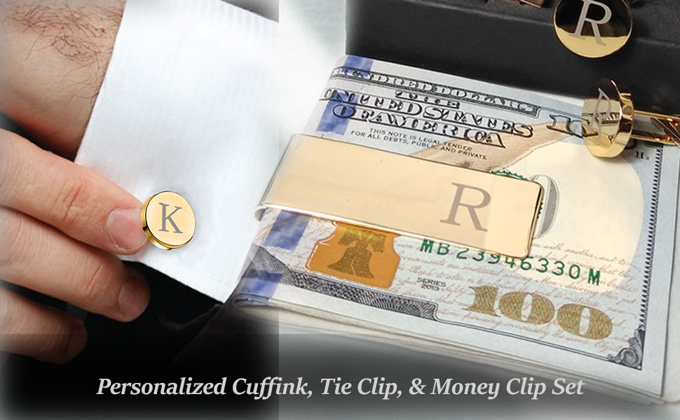 money clip and cufflink set