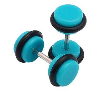 fake plugs in aqua with black o-rings