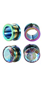 Burnished Olive Branch Ear Plugs GreenBlue PurpleOpal Stainless Steel Screw Fit Ear Expander