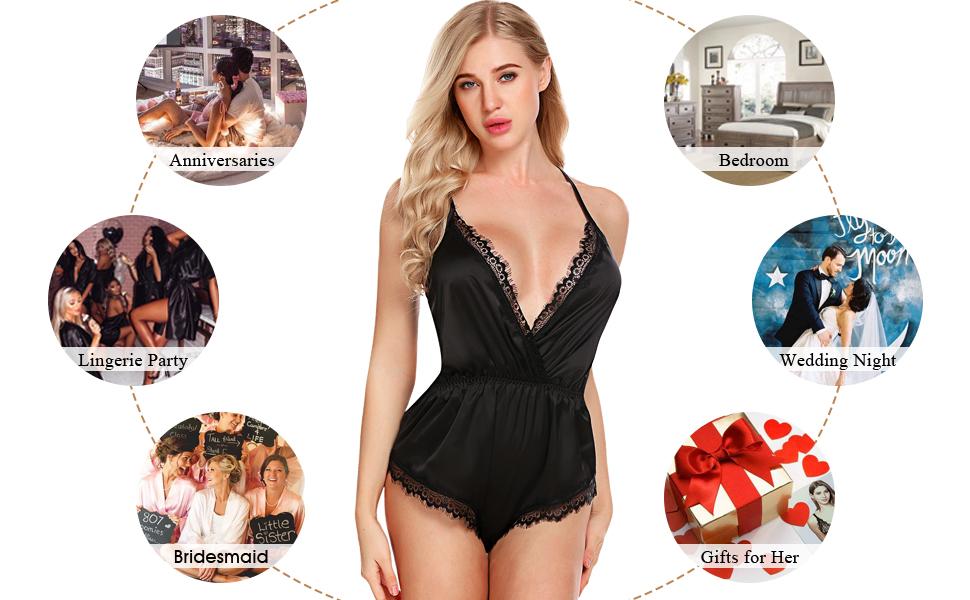 45e96cd30 ADOME Women Lingerie Bodysuit V Neck Romper Lace Satin Pajamas Teddy  Nightwear Short Jumpsuit Silky Nighty Gown