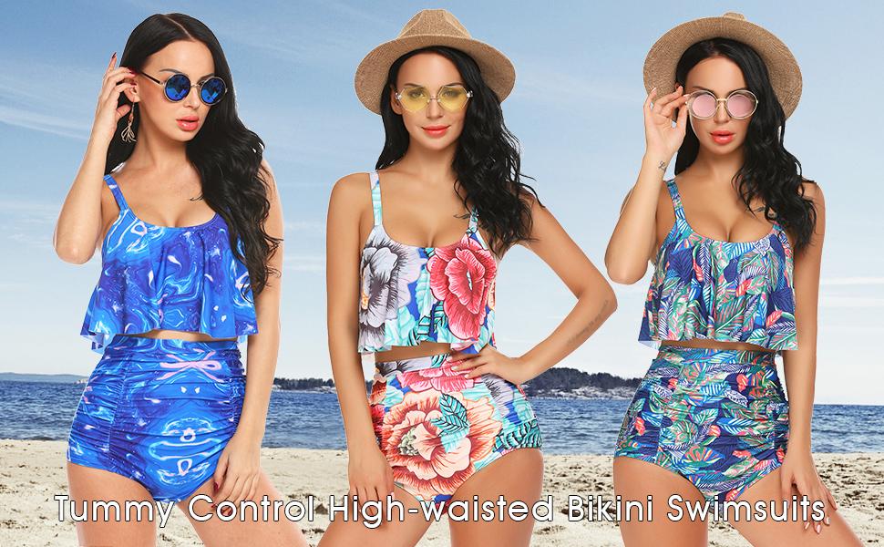 77044848855e4 Amazon.com  ADOME High Waisted Swimsuits for Women 2PC Tummy Control ...