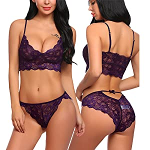 df5e10c5d7 ADOME Women s Lace Lingerie Set Sexy Bra and Panty Set Strappy Babydoll  Bodysuit Two Piece Outfits Purple