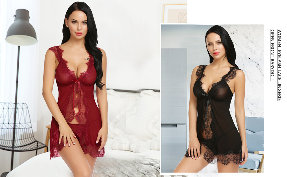 30c1d0f42 ADOME Women Sheer Lace Lingerie Eyelash Lace Babydoll Mesh Chemise Nightgown
