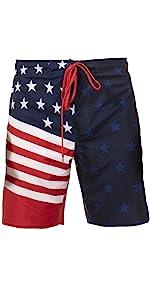 LAGUNA Mens American Flag USA Pocket Boardshorts Swim Trunks, UPF 50+