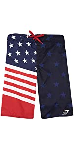 LAGUNA Boy's American Flag USA Boardshorts Swimwear Trunks, UPF 50+