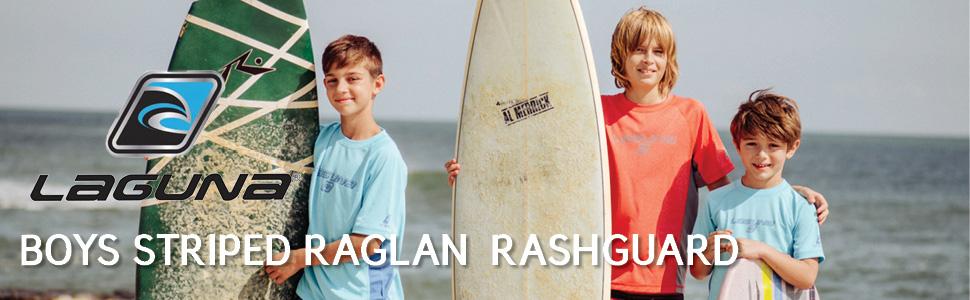 LAGUNA Boys Striped Raglan Crewneck Short Sleeve Loose Fit Rashguard Swim Sun Tee Shirt