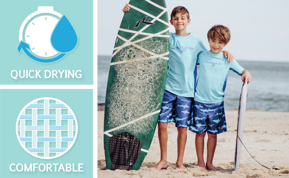 LAGUNA Young Boys and Toddlers Stretch Swimsuit Crewneck Short Sleeve Tee and Swim Trunks Set, UPF