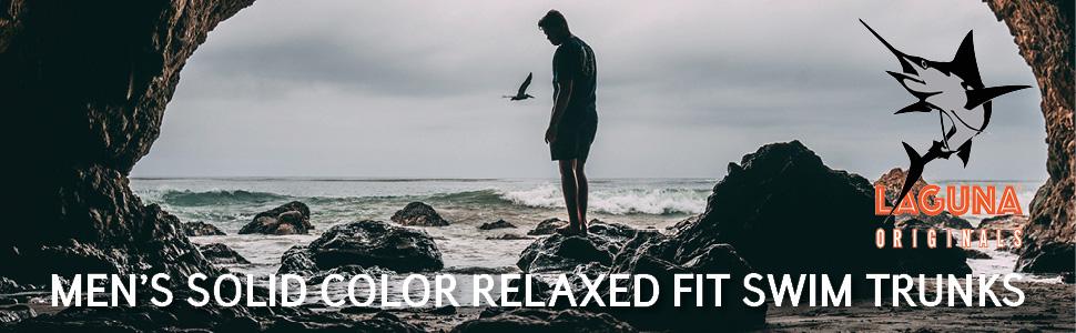 LAGUNA Originals Mens Relaxed Fit Pocket Boardshorts Swim Trunks, UPF 50+