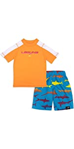 LAGUNA Young Boys Rashguard Sun Tee and Swim Trunks Set, UPF 50+