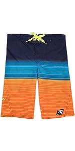 LAGUNA Boys Side Zipper Striped Boardshorts Swim Trunks, UPF 50+