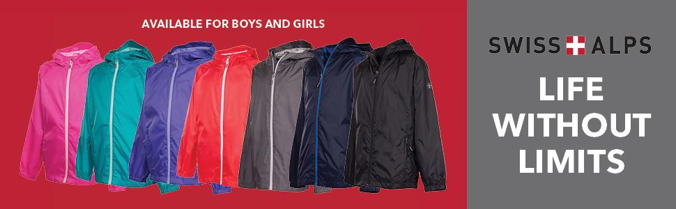 Swiss Alps Girls Wind Resistant Lightweight Rain Jacket