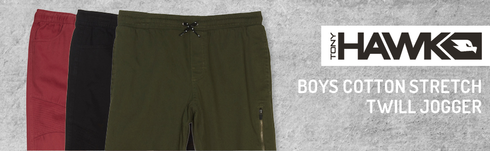 aa029d6a1 TONY HAWK Kids Boys Cotton Stretch Twill Woven Jogger Pants with Drawstring  Pockets School Clothes