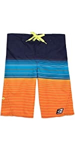 LAGUNA Boys Side Zipper Striped Boardshorts Swim Trunks, UPF 50+