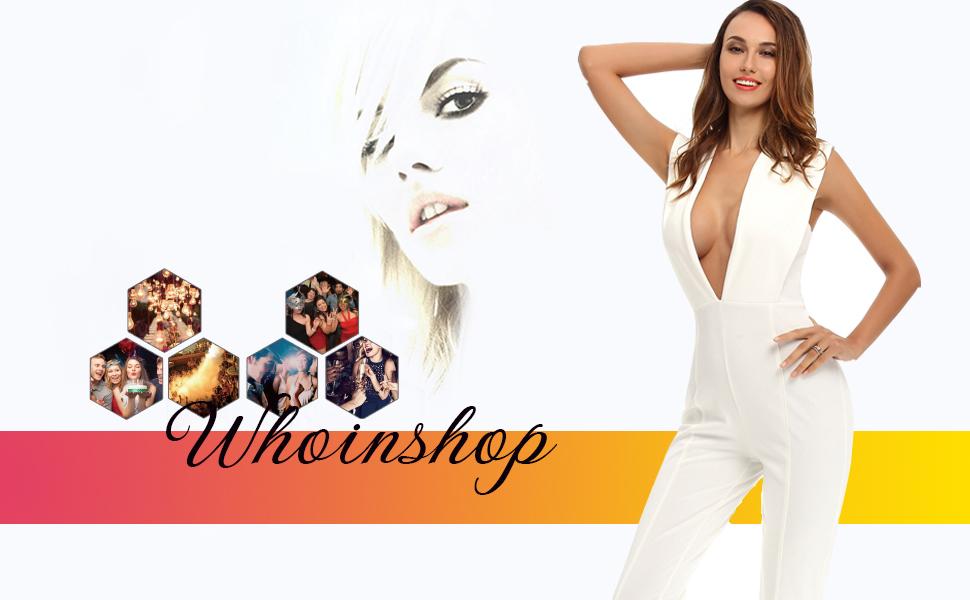 Amazon.com  Whoinshop Women s Sexy Deep V Neck Jumpsuit Stretch ... 8a61cdc84