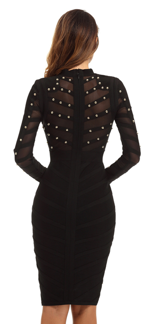 Whoinshop Womens Long Sleeve Studded Party Bandage Dress With Sheer