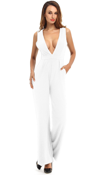 Amazon.com  Whoinshop Women s Deep V Wide Leg Jumpsuit Club Romper ... aa776dc4d
